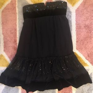 Charlotte Russe black sequin velvet babydoll dress